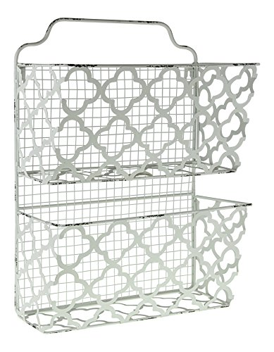 Shabby Chic Hanging - Decor Works – Two Tier Decorative Metal Wall Filing Bin – File Organizer – Magazine Rack – Mail Sorter – Hanging Storage – Shabby Chic – Vintage Inspired – Distressed – (White)