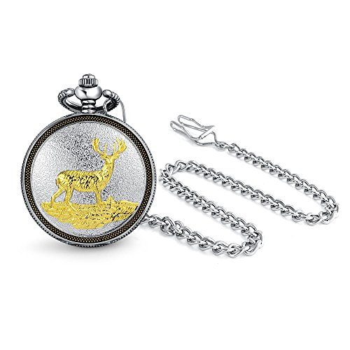 Bling Jewelry Two Tone Elk Reindeer Deer Mens Pocket Watch for Men for Hunter Matt Gold Silver Tone Plated Alloy with Chain