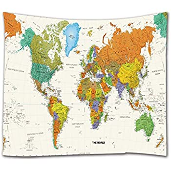 Goodbath World Map Tapestry, Watercolor Colorful Tapestries Wall Hangings for Bedroom Living Room Dorm,80 x 60 Inch