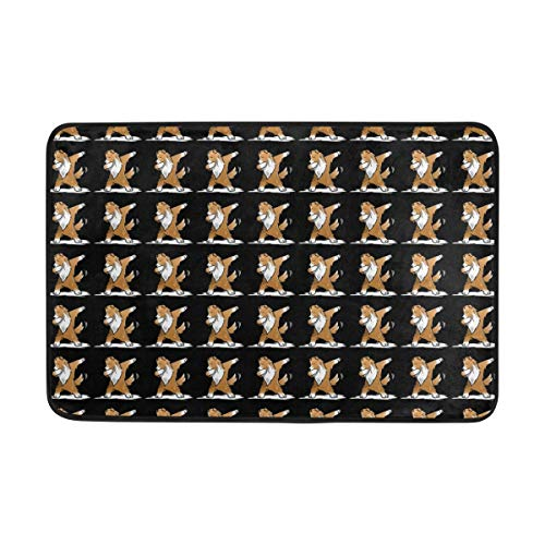 Gold Shetland Sheepdog - Benj Gold Durable Door Mat Shetland Sheepdog Dabbing Dance Polyester Non-Slip Doormat for Indoor/Outdoor, Easy Clean Outside Doormat Patio Rug, Low-Profile Rug Mats for Entry, High Traffic Areas
