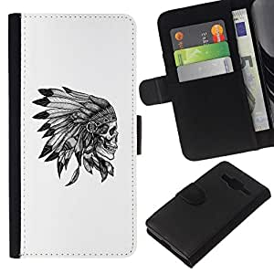 All Phone Most Case / Oferta Especial Cáscara Funda de cuero Monedero Cubierta de proteccion Caso / Wallet Case for Samsung Galaxy Core Prime // cráneo plumas tocados nativa americana