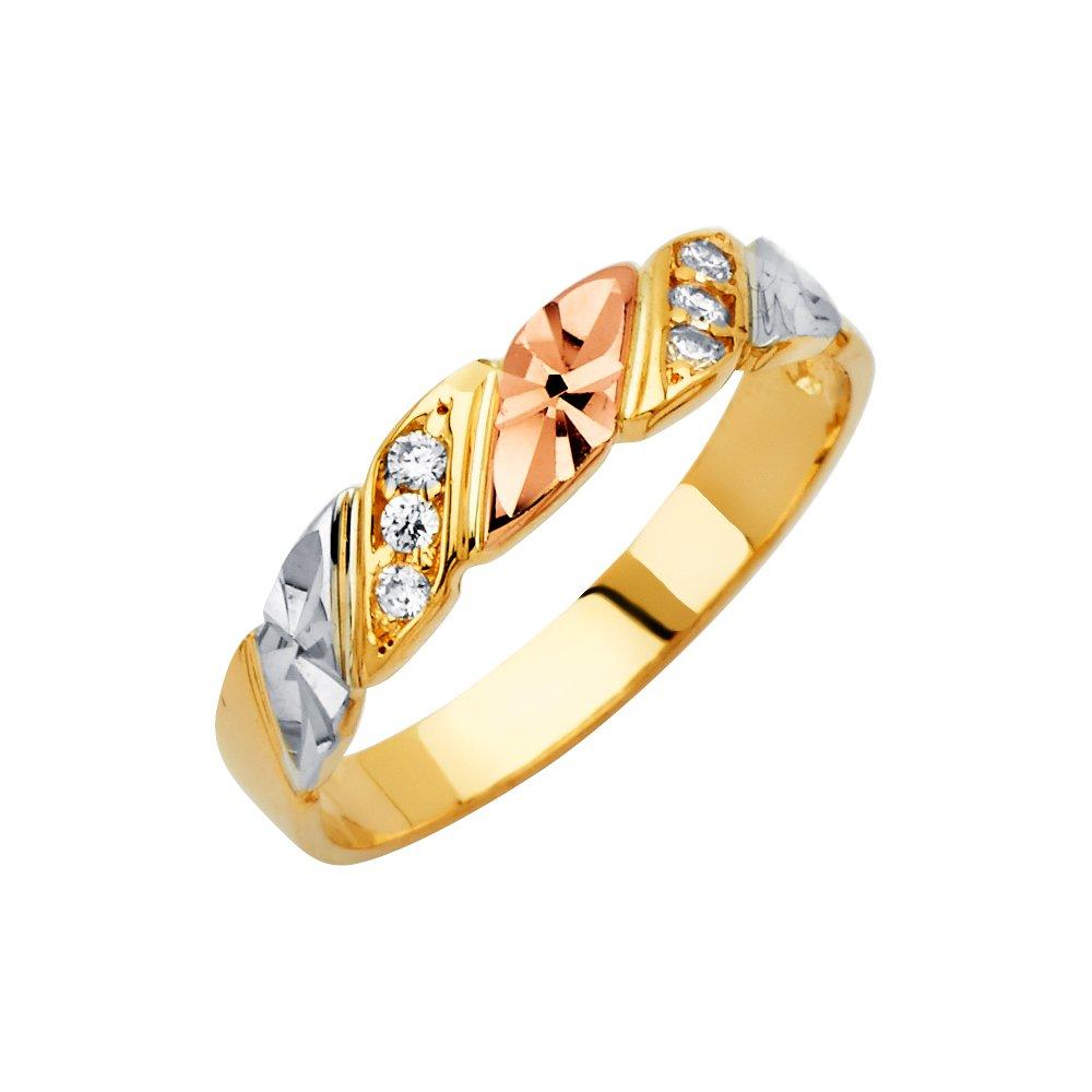 Mens 14k Tri Color Gold Wedding Band - Size 10