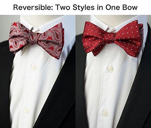 TIGER MAMA Mens 3pc Adjustable Length Self Tied Necktie Bow Ties