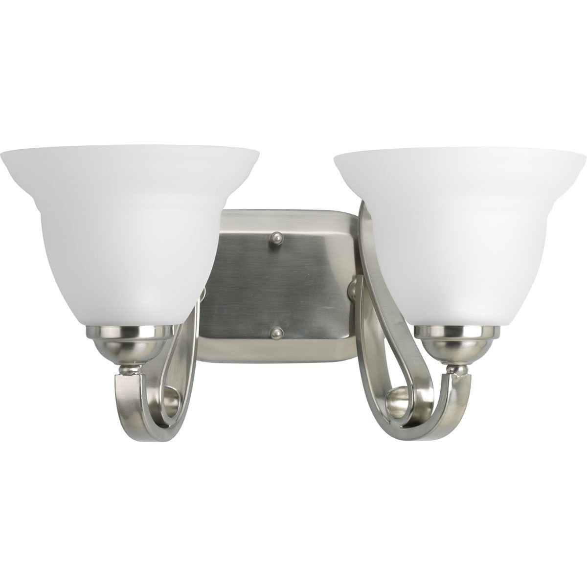 Progress Lighting P2882-09 2-Light Bath Bracket with Etched White Glass, Brushed Nickel