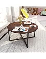 """31.5"""" Round Living Room Coffee Table with X Base Metal Frame, Accent Furniture for Home Office, Black+Brown"""