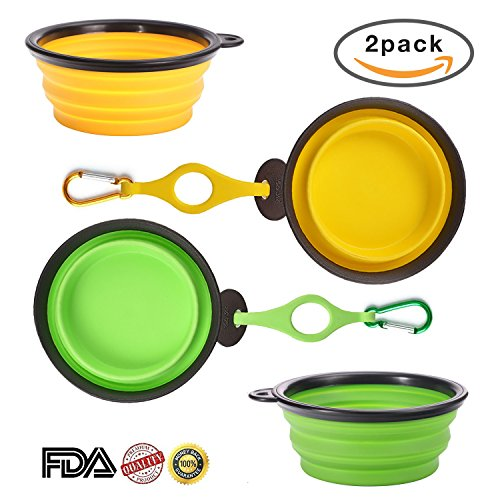 Portable Dog Feeding Bowls, 2 Pack Large Size Collapsible...