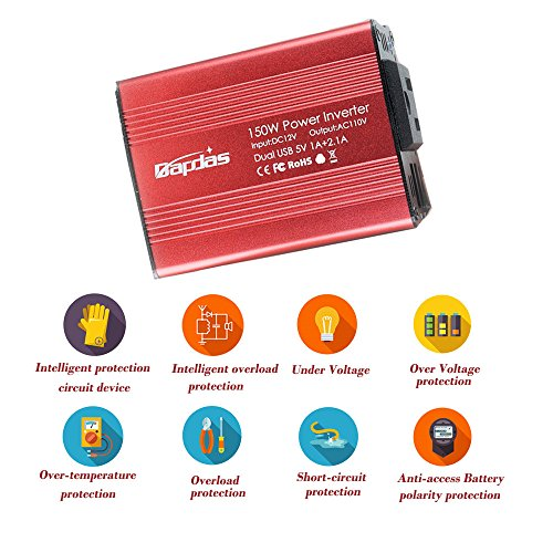 Bapdas 150W Car Power Inverter DC 12V to 110V AC Car Converter with 3.1A Dual USB Car Adapter-Red by Bapdas (Image #3)