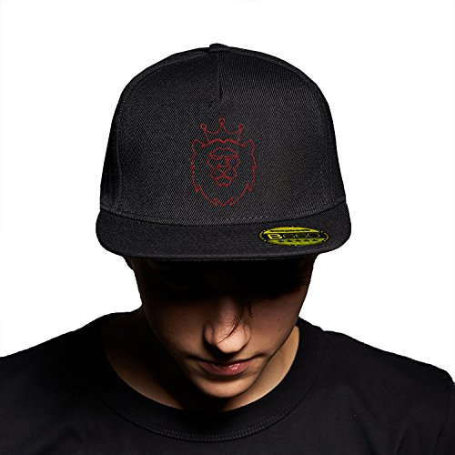 King Lion Black Black Cap Original Gorra Snapback Unisex, Ajustable, con Visera Plana y Logotipo Urbano Bordado.