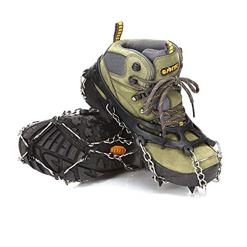 abcGoodefg One Pair Anti Slip 8 Teeth Ice Claws Crampons Non-Slip Shoes Cover Shoe Chains with Stainless Steel Chain Snow for Outdoor Ski Hiking Climbing Dig ECT. (Black) by abcGoodefg