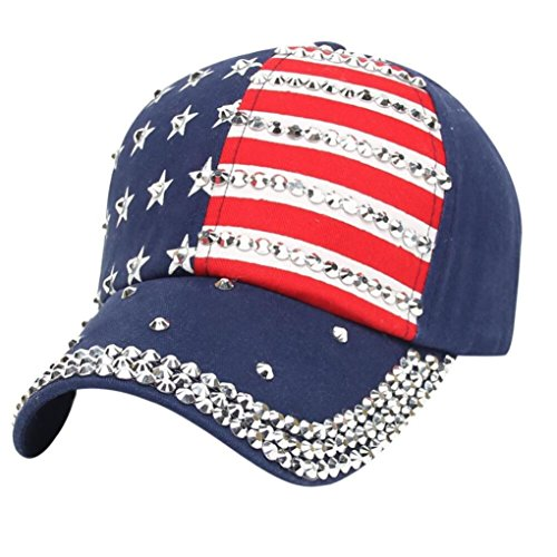 Tloowy Clearance! Women Sparkle Rhinestone USA Patriotic American Flag Baseball Cap Hat 4th July Summer Sun Cap (Polo Sport Type)