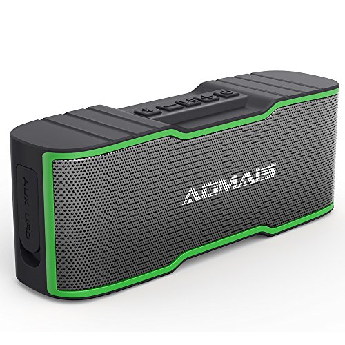 AOMAIS Sport II MINI Portable Bluetooth Speakers with 10W Superior Sound, Built-in Mic, Stereo Pairing, IPX4 Water-resistant Wireless Speaker for iPhone, iPod, iPad, Tablets, Echo Dot (Green) by AOMAIS
