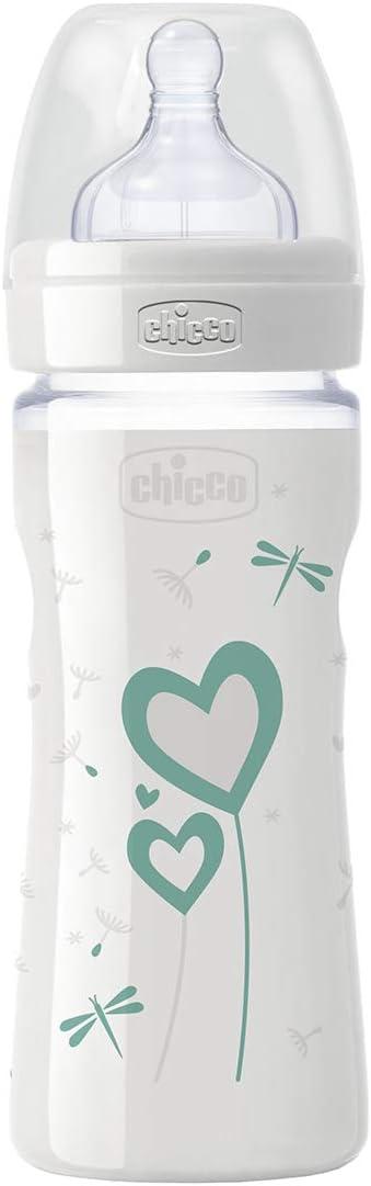 beb/és 0 m+ flujo medio color verde Chicco Wellbeing Biber/ón de vidrio//cristal con tetina de silicona anti c/ólicos 240 ml