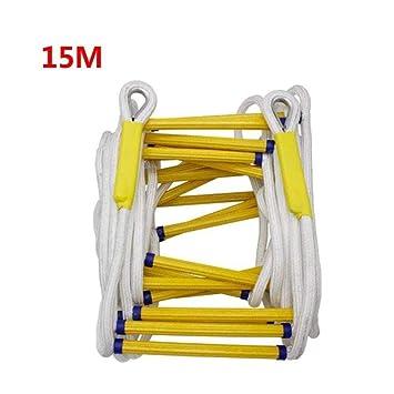 YXIAOL Escalera De Cuerda Escaleras De Emergencia De Resina De Escalera para Niños Adultos Escalera De Entrenamiento Escalera De Cuerda para Niños con Peldaños De Madera Escape En Caso Incendios,15M: Amazon.es: Deportes