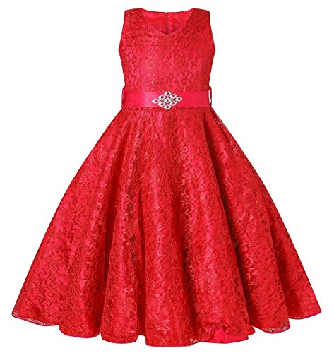 SHOWADAY Girl's Princess Sleeveless Tulle Lace Glitter Vintage Pageant Prom Dresses Red 8T ()