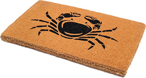Handwoven, Extra Thick Doormat | Entryway Door mat for Patio, Front Door | Decorative All-Season | Happy Crab Shack | 18