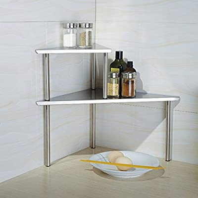 Kitchen or Bathroom 2 Piece Triangle Stainless Steel One Bigger and One Smaller Corner Storage Organizer No Rust 2 Tiers Standing Unit Shelf Set on Cylindrical Stands