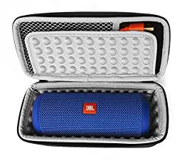 FitSand (TM) Carry Travel Zipper Protective EVA Storage Hard Case Box Bag for JBL Flip 3 Bluetooth Speaker - Fits the Charger Cable (Black+Gray)