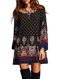 Women's Bohemian Vintage Printed Ethnic Style Loose Casual Tunic Dress