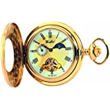 Woodford Mechanical Half-Hunter Pocket Watch, 1032, Men's Gold-Plated 24Hour Moon-phase with Chain (Suitable for Engraving)