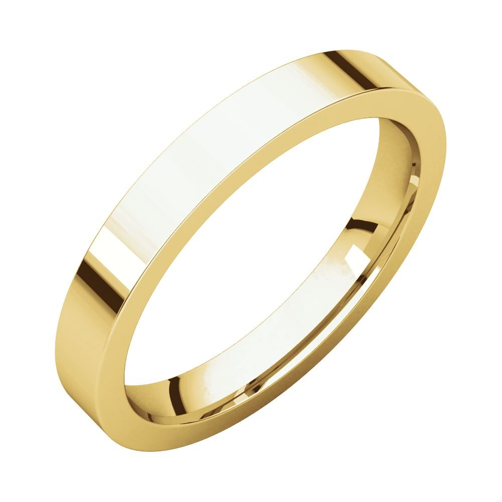 14k Yellow Gold 3mm Flat Comfort Fit Band, 14kt Yellow gold, Ring Size 6.5