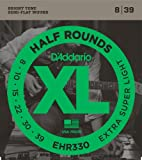 39 guitar - D'Addario EHR330 Half Round Electric Guitar Strings, Extra-Super Light, 8-39