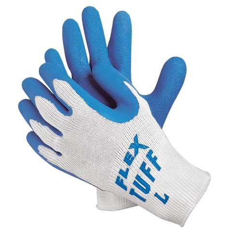 Memphis 9688 Flex-Tuff II Grey Natural Rubber Latex Palm Coated Cotton/Polyester General Purpose Grip Gloves, Size Xlarge Sold by the Dozen Pairs