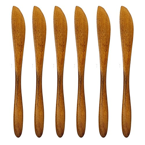 Cheese Spreaders, Cute Mini 6.07 inches Wood Kitchen Knives for Butter Sandwiches Cheese Breakfast,Packs Of 6 (6 pieces Wooden Butter Knife C)