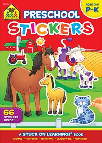 School Zone - Preschool Stickers Workbook - Ages 3 to 6, Preschool through Kindergarten, Stickers, Numbers, and Letters