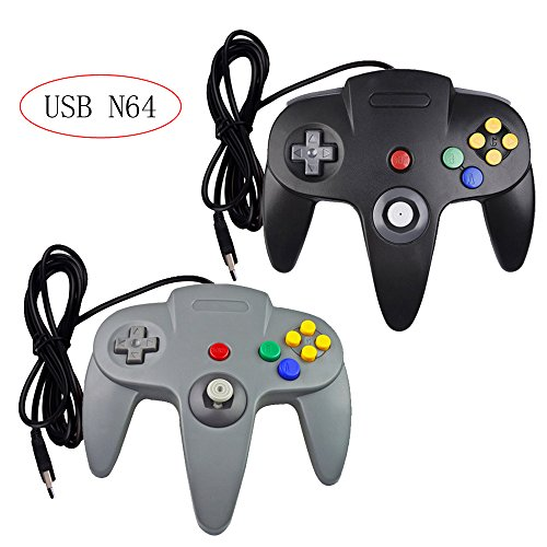 Bowink 2 packs Classic Retro N64 Bit USB Wired Controllers for PC and Mac(Black and Gray)
