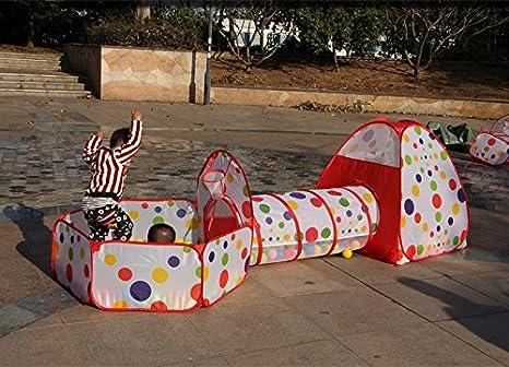 Truedays 3 Partes Carpa para Niños Tienda de Campaña Pop Up Casa de Juego Tiendas de Juegos para Niños con Túnel con Cuadro de Baloncesto Plegable ...