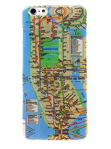 Apple iPhone 6 Plus and iPhone 6s Plus 5.5 inches New York City Subway Map Thin Flexible TPU Case Impact Absorb Protection Cover Quick and Easy Install Snap On and Off Perfect Fit Slim Lightweight