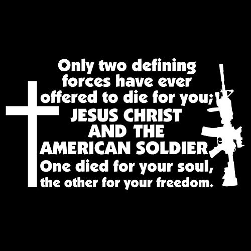 Bamfdecals Two Defining Forces Rifle and Cross Automotive Grade Die-Cut Vinyl Decal - Xtra Large - White ()