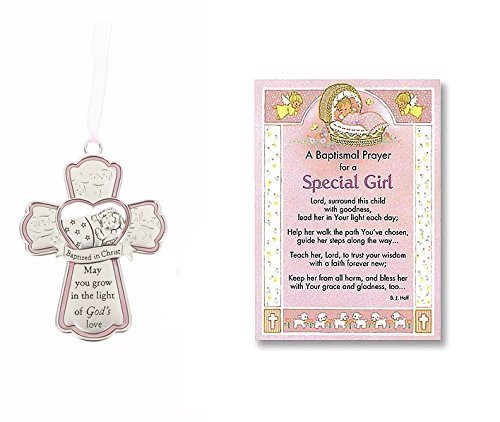 Special Girl Baptism Card and Crib Cross Abbey Press