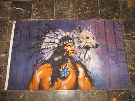 Amazon.com: Luna 3 X 5 Jefe indio nativo americano Wolf ...