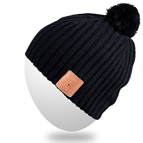 Rotibox Washable Winter Mens Womens Hat Bluetooth Beanie Pom Pom With Wireless Stereo Headphones Mic Hands Free Rechargeable