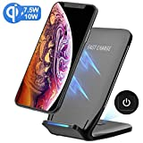 Fast Wireless Charger, PICTEK 【7.5W Fast Charger】 Qi  Wireless Charging Stand with Type-C Cable and Charging  Switch for iPhone XS/XS Max/XR, iPhone X/8/8Plus, 10W Fast  wirless charger for Samsung Galaxy S8/S8+/S9/S9 Plus/S7  Edge/S7 and Qi-enable Devices(No AC Adapter)