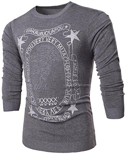 Jeansian Hombres Casual Crew Cuello Knitted Puente Knitwear Sweater Long Sleeves Jersey Camisas Slim Fit Top 88A2 Gray