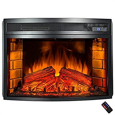 25 in. Freestanding Electric Fireplace Insert Heater in Black with Curved Tempered Glass and Remote Control