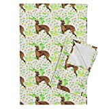 Roostery Daisies Tea Towels Italian Greyhound And Daisies Fabric by Dogdaze Set of 2 Linen Cotton Tea Towels