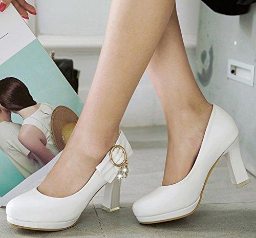 Diamantes Con Estilo Para Mujer De Idifu Redondos Para Resbalones En La Parte Superior Baja Bombas De Talón Con Bloque Alto Zapatos Blancos