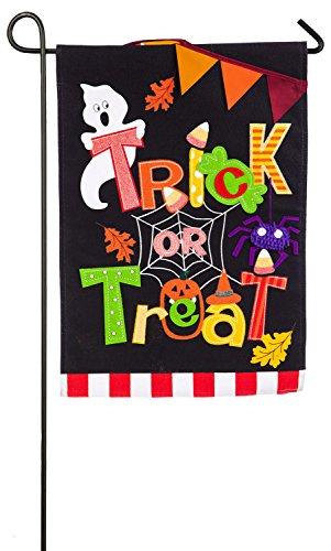 Evergreen Trick or Treat Burlap Garden Flag, 12.5 x 18 inche