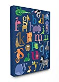 Stupell Home Décor Navy Alphabet Animal Icons Stretched Canvas Wall Art, 16 x 1.5 x 20, Proudly Made in USA