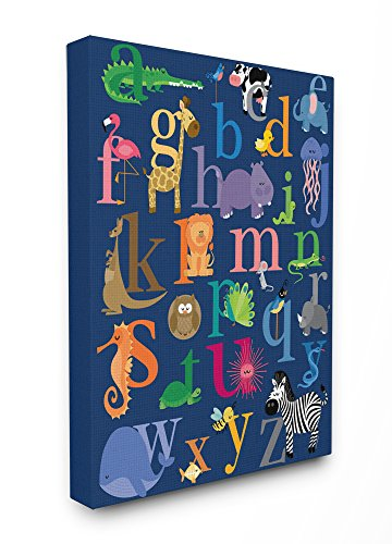 The Kids Room by Stupell The Navy Alphabet Animal Icons Stretched Canvas Wall - Framed Fabric Art