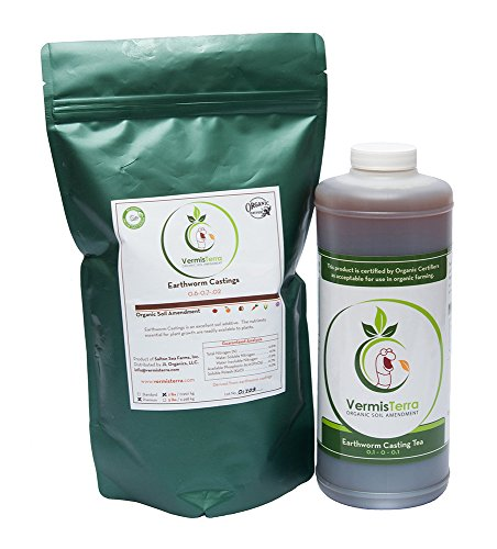 VermisTerra Organic Test Kit - Premium Earthworm Castings (2 LB) & Casting Tea (Quart)