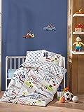 LaModaHome 5 Pcs Baby Cute Soccer Teddy Kids Champion Boys Match Winner Toddler Cotton Bedding COTTON COMFORTER Set, Turkey 100% Cotton Nursery [with COTTON Quilt/Comforter]