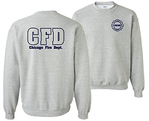 Chicago Fire Department Maltese Cross 2-Sided Crew Neck Sweatshirt (Large, Sports Grey)