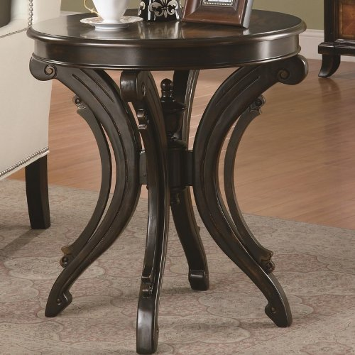 Round End Table with Animal Print Top Scrolled Base by Coaster by Coaster Home Furnishings