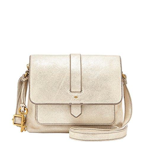 Fossil Kinley Small Crossbody Gold Damen Handtasche Tasche Schultertasche Leder Umhänge Taschen Modern ZB7409-751