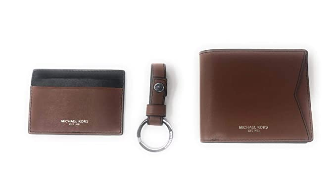 Michael Kors Mens Set Two Tone Leather Billfold Wallet With ...