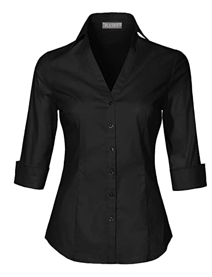 c1c55a64b00 LE3NO Womens Roll Up 3 4 Sleeve Button Down V Neck Shirt with  Stretch